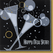 20 New Year Bubbly Paper Party Napkins